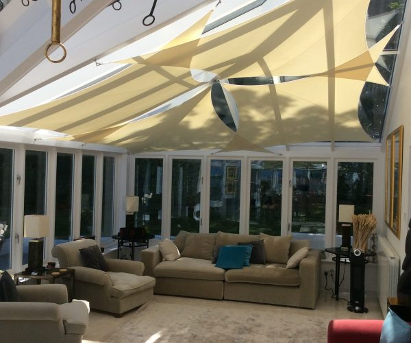 Lean to conservatory with roof sails